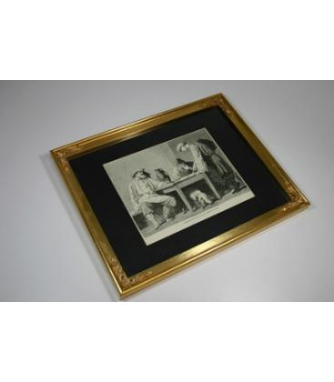 Peasants Playing Dice Engraving - Framed /MAGICANTIC
